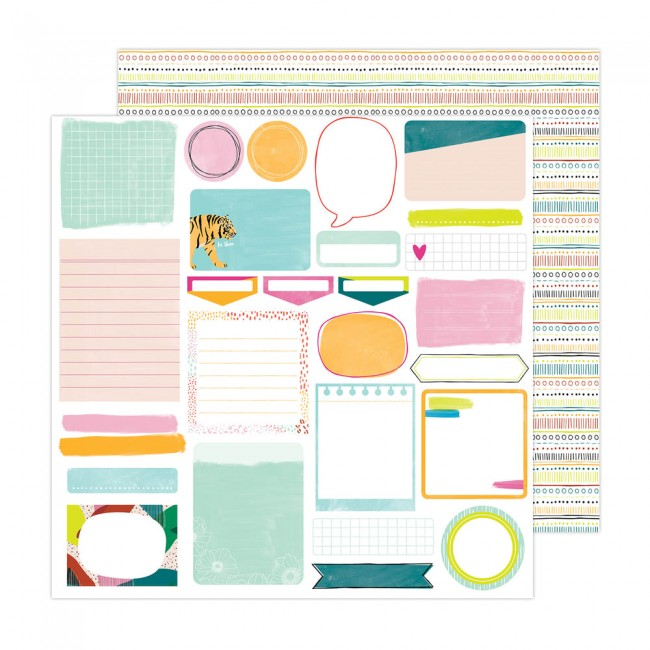 Papel Estampado Doble Cara 12x12 Brave + Bold Amy Tangerine Take Note