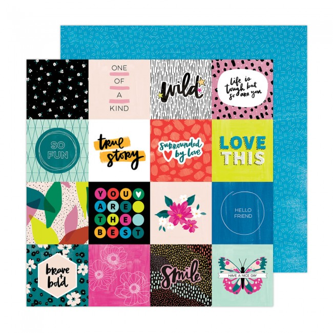 Papel Estampado Doble Cara 12x12 Brave + Bold Amy Tangerine True Story