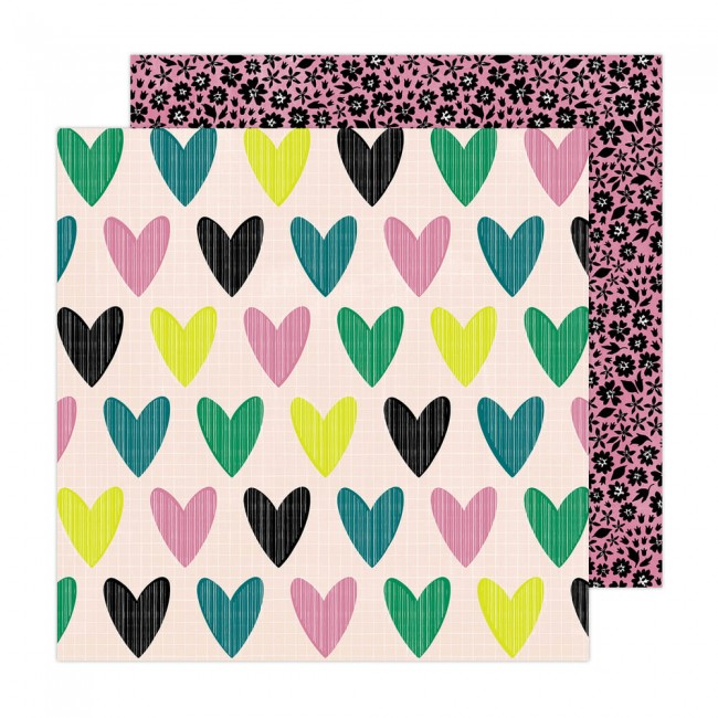 Papel Estampado Doble Cara 12x12 Brave + Bold Amy Tangerine Whole heart