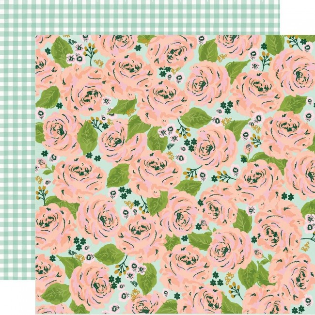 Papel Estampado Doble Cara 12x12 Bunnies & Blooms In Full Bloom