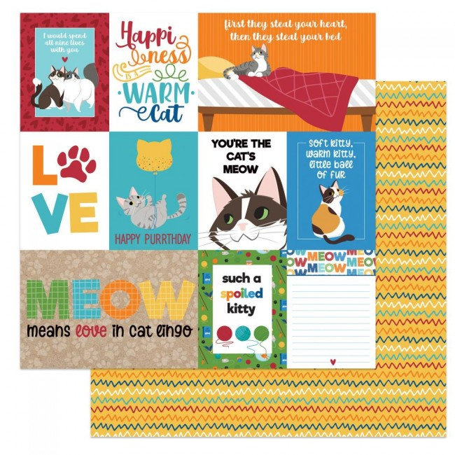 Papel Estampado Doble Cara 12x12 Cat Lover Spoiled