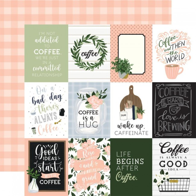 """Papel Estampado Doble Cara 12x12 Coffee and Friends 3""""X4"""" Journaling Cards"""
