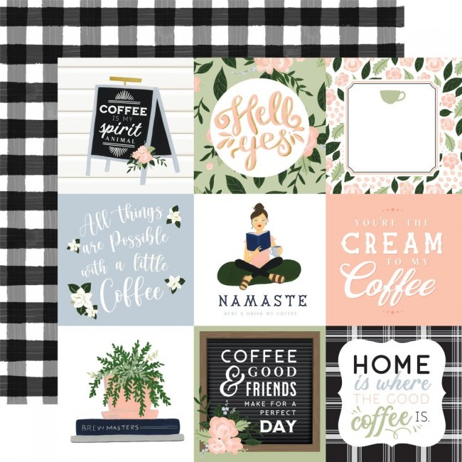 """Papel Estampado Doble Cara 12x12 Coffee and Friends 4""""X4"""" Journaling Cards"""