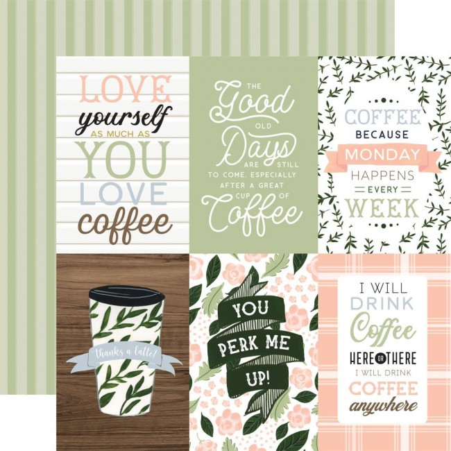 """Papel Estampado Doble Cara 12x12 Coffee and Friends 4""""X6"""" Journaling Cards"""