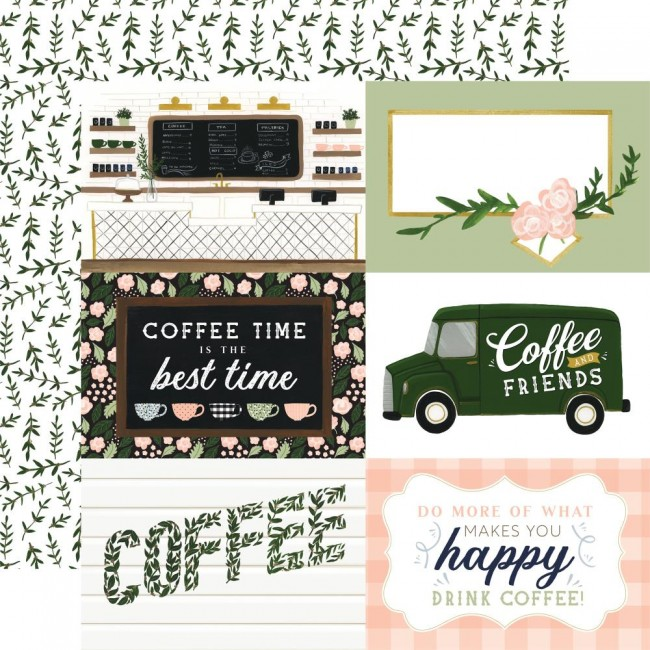 """Papel Estampado Doble Cara 12x12 Coffee and Friends 6""""x4"""" Journaling Cards"""