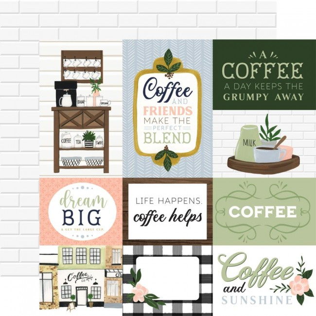 Papel Estampado Doble Cara 12x12 Coffee and Friends Journaling Cards