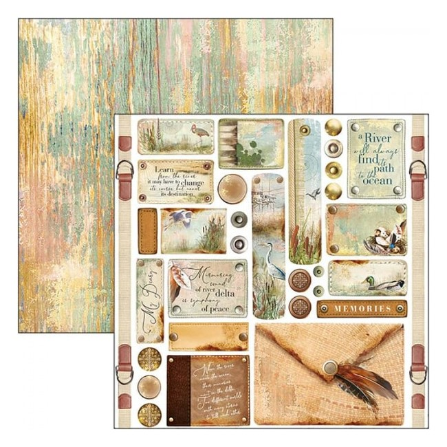 Papel Estampado Doble Cara 12x12 Delta Tags & Buttons