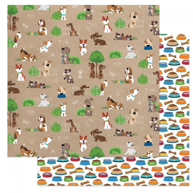 Papel Estampado Doble Cara 12x12 Dog Lover Go For A Walk