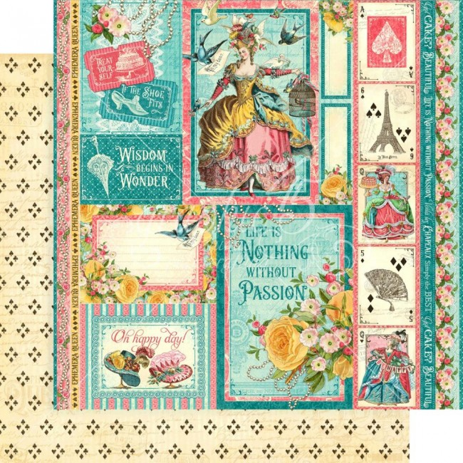 Papel Estampado Doble Cara 12x12 Ephemera Queen Oh Happy Day