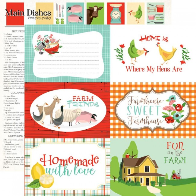 "Papel Estampado Doble Cara 12x12 Farm to Table 6""X4"" Journaling Cards"