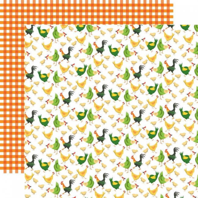 Papel Estampado Doble Cara 12x12 Farm to Table Chicken Coop