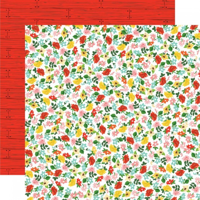 Papel Estampado Doble Cara 12x12 Farm to Table Floral Frenzy