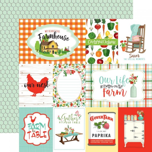 Papel Estampado Doble Cara 12x12 Farm to Table Journaling Cards
