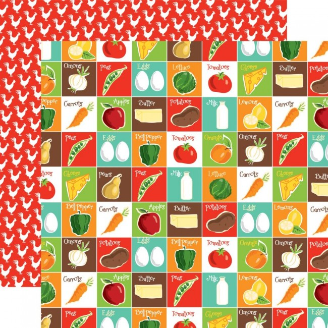 Papel Estampado Doble Cara 12x12 Farm to Table Pantry Party