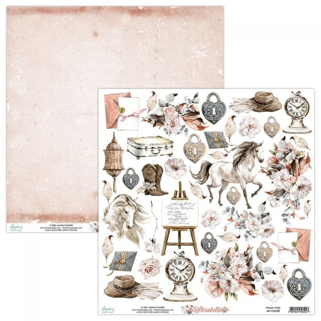 Papel Estampado Doble Cara 12x12 Florabella Elements