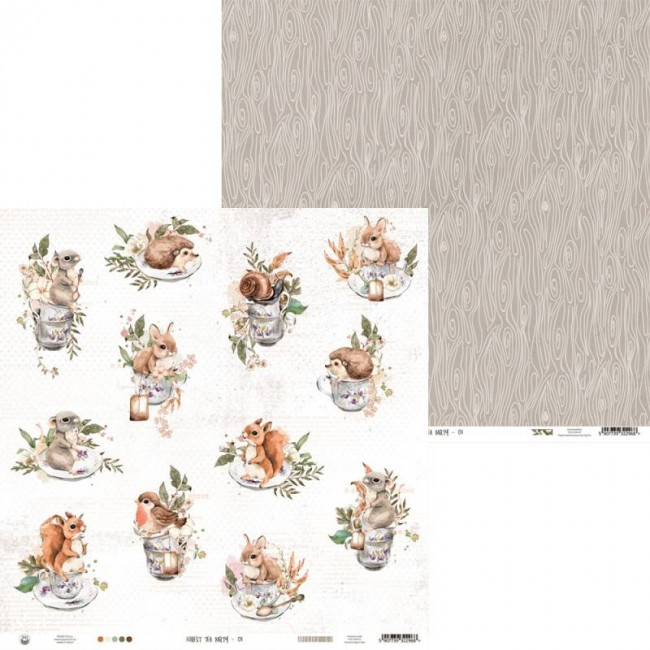 Papel Estampado Doble Cara 12x12 Forest Tea Party 01