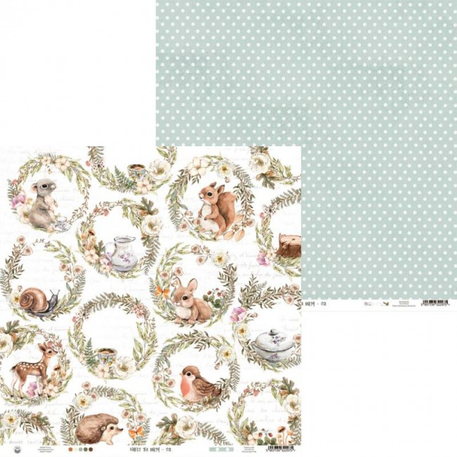 Papel Estampado Doble Cara 12x12 Forest Tea Party 02