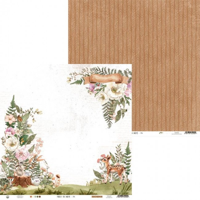 Papel Estampado Doble Cara 12x12 Forest Tea Party 04