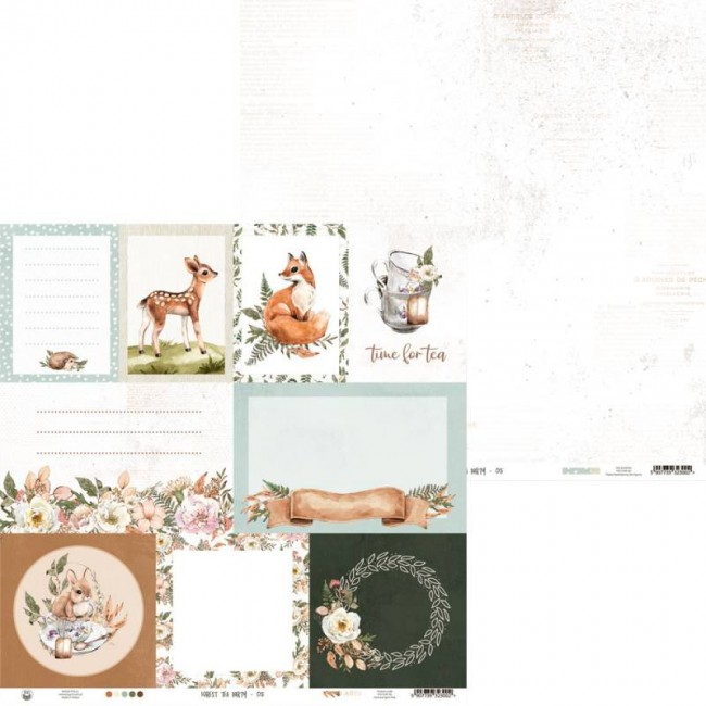 Papel Estampado Doble Cara 12x12 Forest Tea Party 05