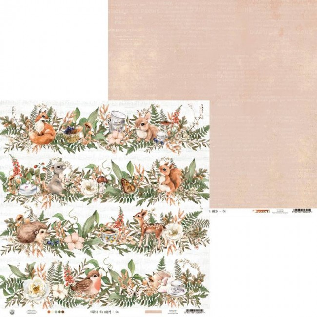 Papel Estampado Doble Cara 12x12 Forest Tea Party 06