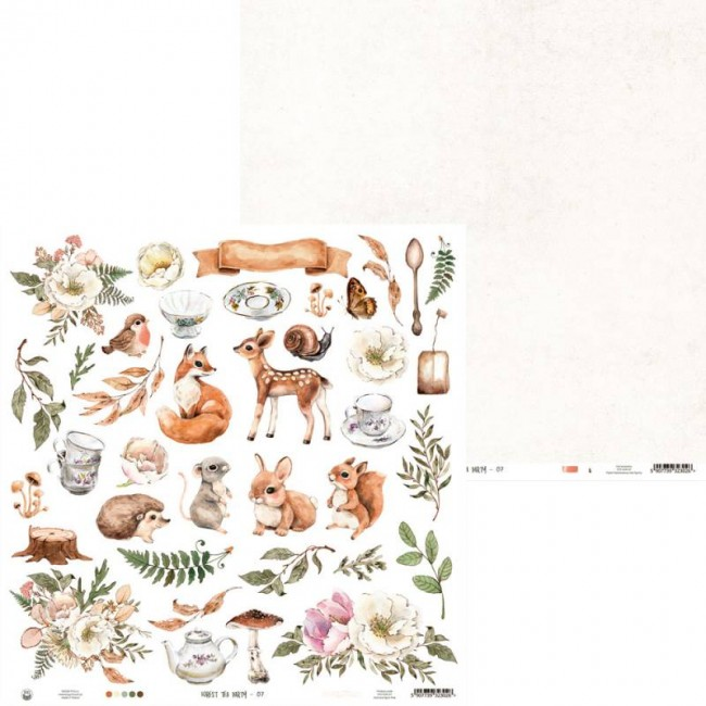 Papel Estampado Doble Cara 12x12 Forest Tea Party 07