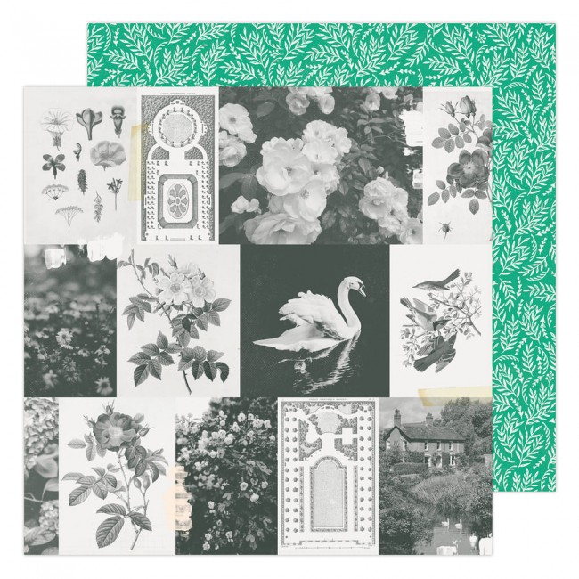 Papel Estampado Doble Cara 12x12 Garden Party Maggie Holmes Garden Greens