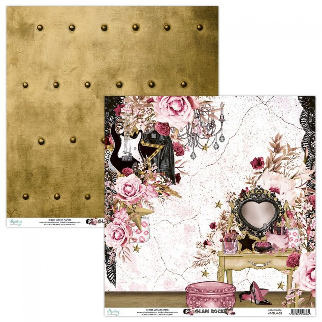 Papel Estampado Doble Cara 12x12 Glam Rock 3