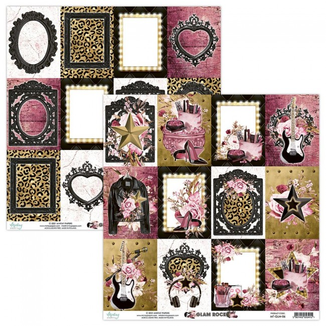 Papel Estampado Doble Cara 12x12 Glam Rock 6