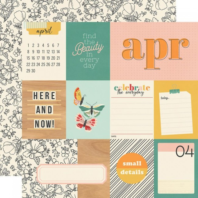 Papel Estampado Doble Cara 12x12 Hello Today April