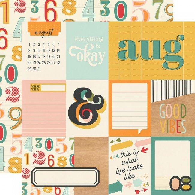 Papel Estampado Doble Cara 12x12 Hello Today August