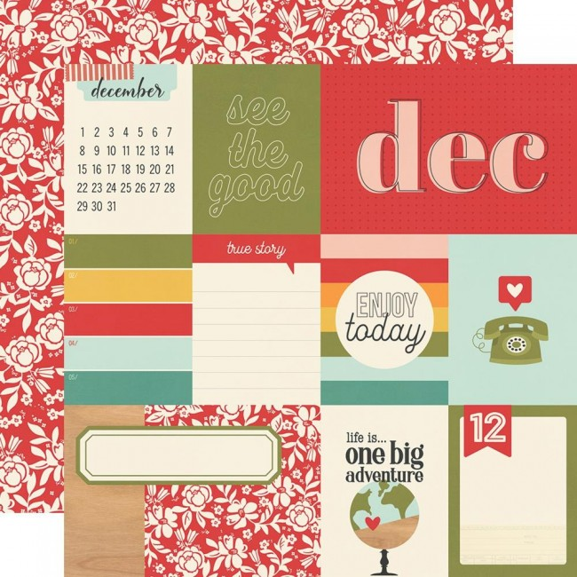 Papel Estampado Doble Cara 12x12 Hello Today December