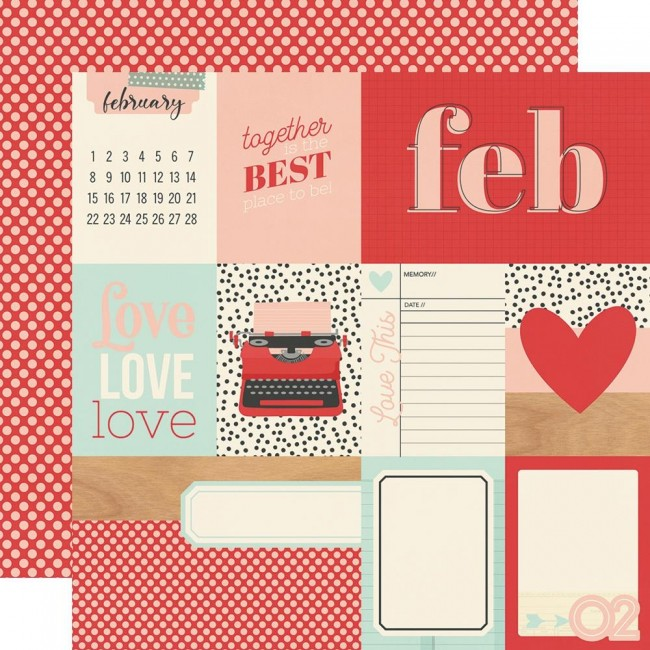 Papel Estampado Doble Cara 12x12 Hello Today February