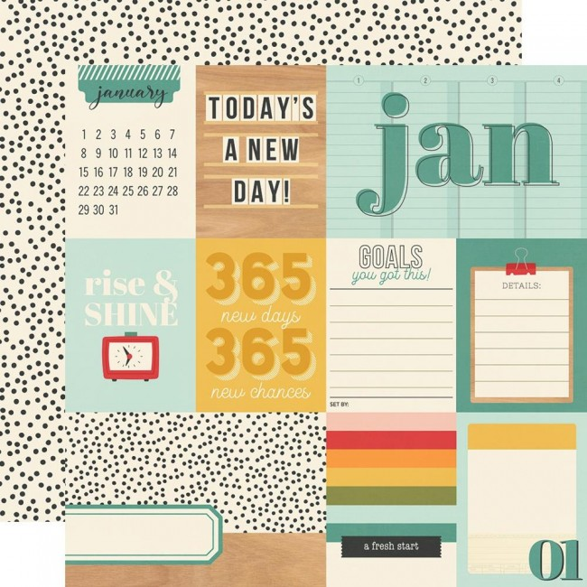Papel Estampado Doble Cara 12x12 Hello Today January