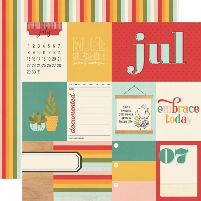 Papel Estampado Doble Cara 12x12 Hello Today July