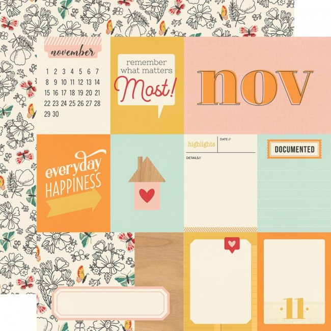 Papel Estampado Doble Cara 12x12 Hello Today November