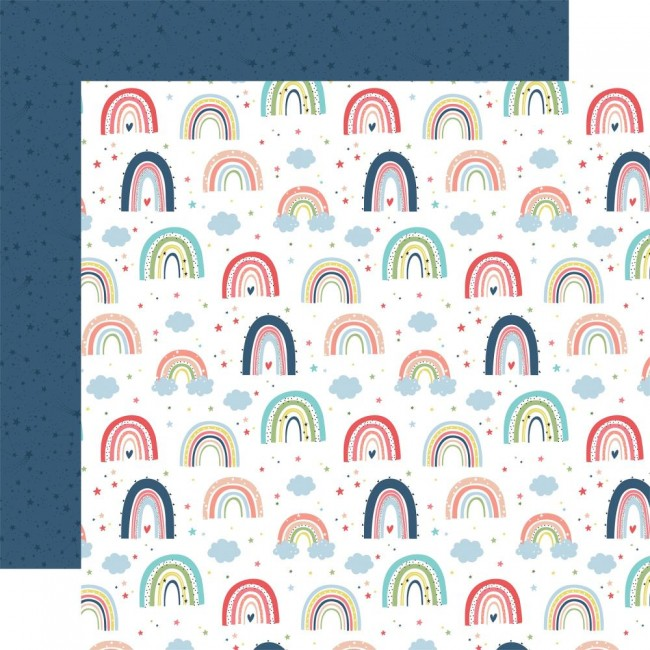 Papel Estampado Doble Cara 12x12 Little Dreamer Girl Rainbow Magic