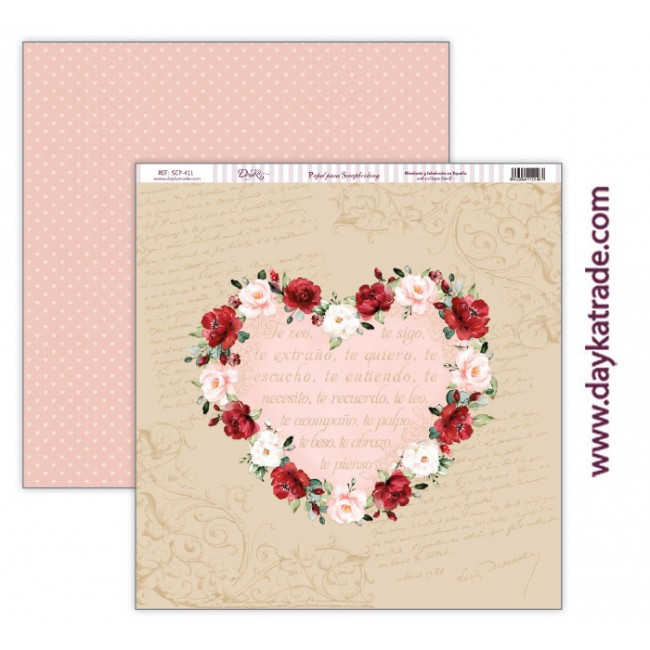 Papel Estampado Doble Cara 12x12 Love makes us fly Corazón con cenefa de flores