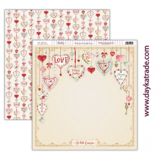 Papel Estampado Doble Cara 12x12 Love makes us fly De todo corazón