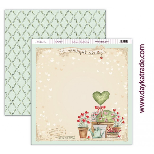 Papel Estampado Doble Cara 12x12 Love makes us fly El amor ser riega todos los días