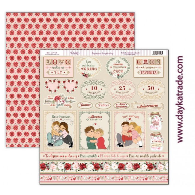 Papel Estampado Doble Cara 12x12 Love makes us fly Etiquetas y Mensajes