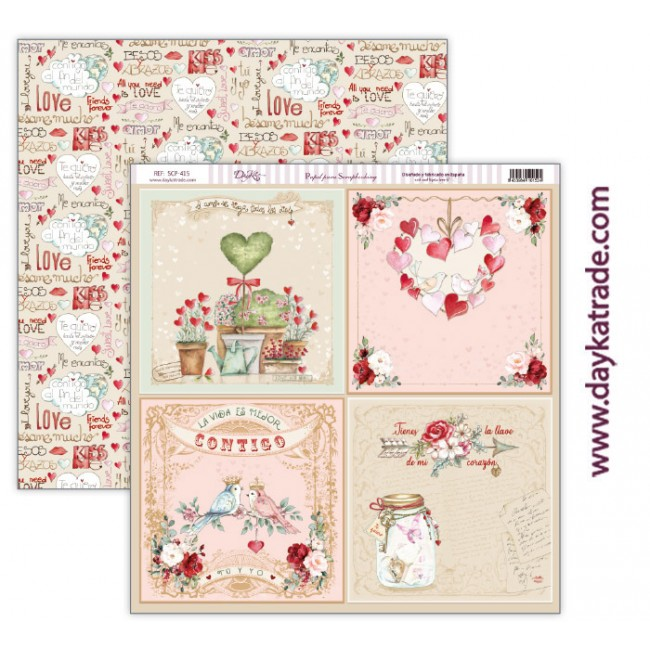 Papel Estampado Doble Cara 12x12 Love makes us fly Tarjetas 6x6