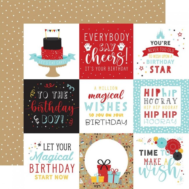 "Papel Estampado Doble Cara 12x12 Magical Birthday Boy 4""X4"" Journaling Cards"