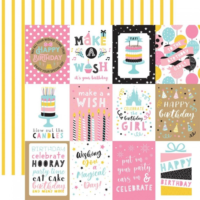 "Papel Estampado Doble Cara 12x12 Magical Birthday Girl 3""X4"" Journaling Cards"