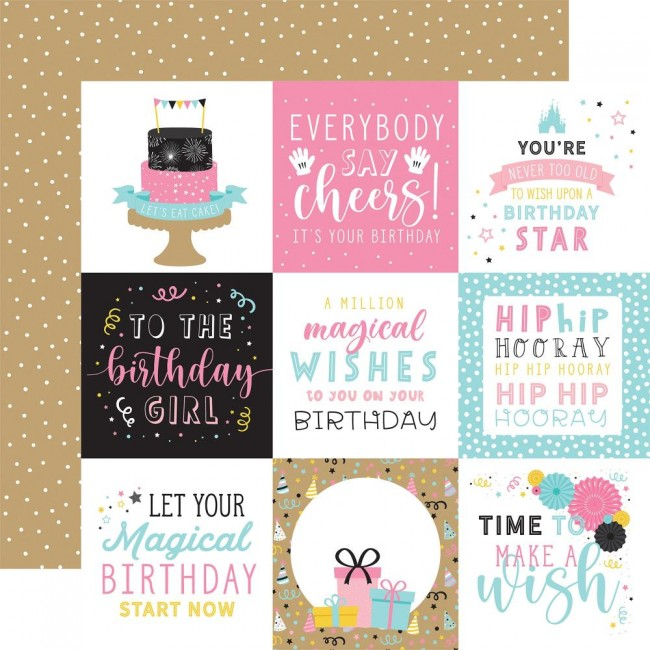 "Papel Estampado Doble Cara 12x12 Magical Birthday Girl 4""X4"" Journaling Cards"