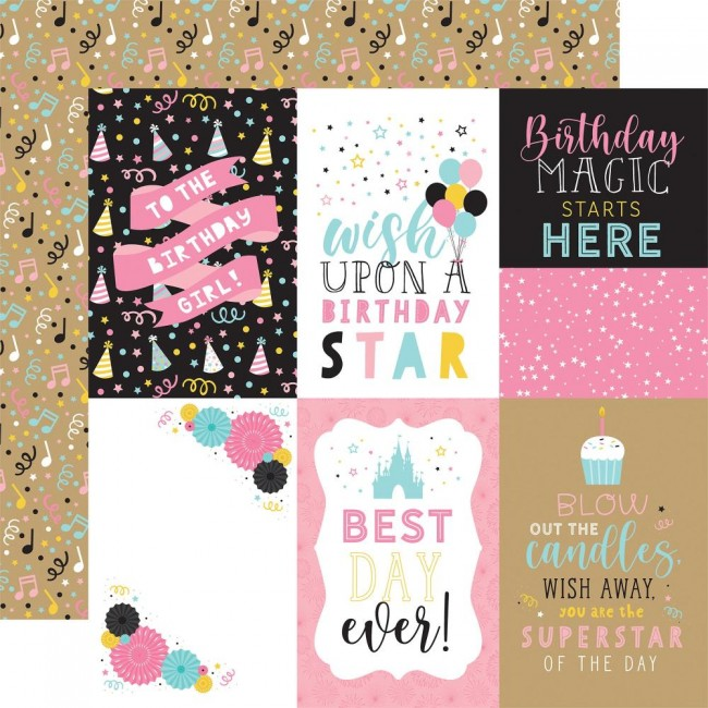 "Papel Estampado Doble Cara 12x12 Magical Birthday Girl 4""X6"" Journaling Cards"