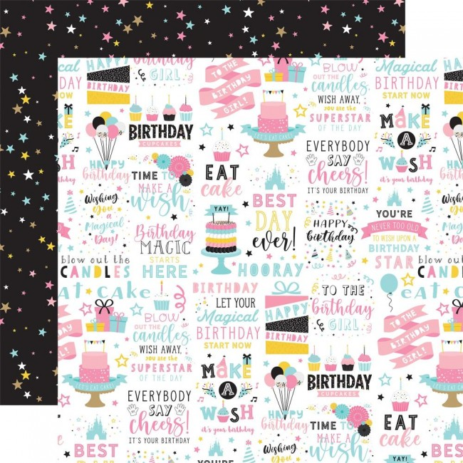 Papel Estampado Doble Cara 12x12 Magical Birthday Girl Birthday Magic