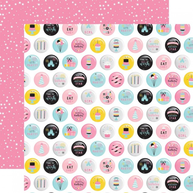 Papel Estampado Doble Cara 12x12 Magical Birthday Girl Eat Cake