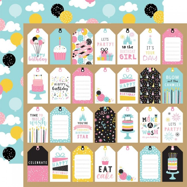 Papel Estampado Doble Cara 12x12 Magical Birthday Girl Gift Tags