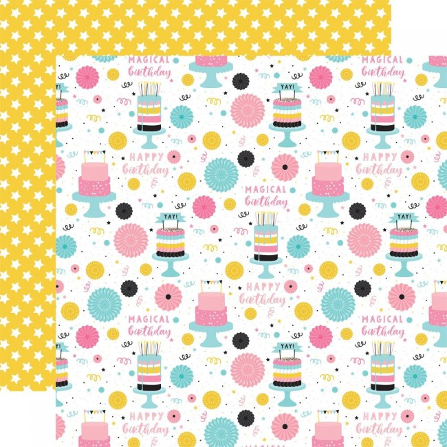 Papel Estampado Doble Cara 12x12 Magical Birthday Girl Happy Birthday