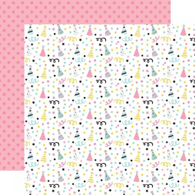 Papel Estampado Doble Cara 12x12 Magical Birthday Girl Party Hats